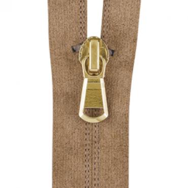 Reversed coil zipper with Alcantara material